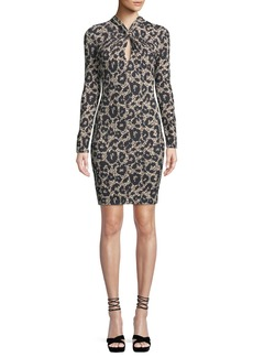 Roberto Cavalli Long-Sleeve Twist-Neck Leopard-Print Body-Con Mini Dress