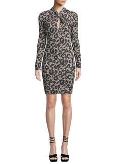 Roberto Cavalli Long-Sleeve Twist-Neck Leopard-Print Body-Con Mini Dress