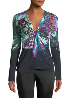 Roberto Cavalli Long-Sleeve V-Neck Exotic Flower-Print Jersey Top