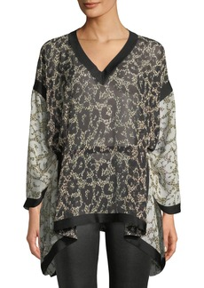 Roberto Cavalli Long-Sleeve V-Neck Retro Leopard-Print Caftan Blouse w/ Self Belt