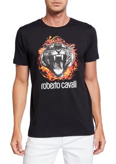 Roberto Cavalli Men's Flaming Tiger Graphic Short-Sleeve T-Shirt