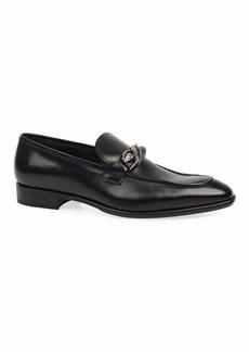 Roberto Cavalli Men's Leather Snake-Bit Loafers
