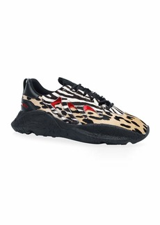 Roberto Cavalli Men's Leopard & Zebra-Print Low-Top Sneakers
