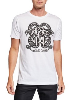 Roberto Cavalli Men's Mirror Snake Logo Graphic T-Shirt