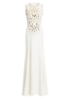 Roberto Cavalli Mirrored Snake Sleeveless Gown