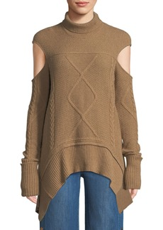 Roberto Cavalli Mock-Neck Cold-Shoulder Cable-Knit Camel-Hair Sweater