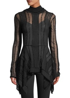 Roberto Cavalli Mock-Neck Long-Sleeve Peplum Sheer Knit Top