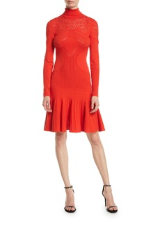 Roberto Cavalli Mock-Neck Long-Sleeve Pointelle Knit Dress