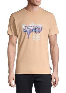 Roberto Cavalli Moire Logo Graphic Stretch T-Shirt