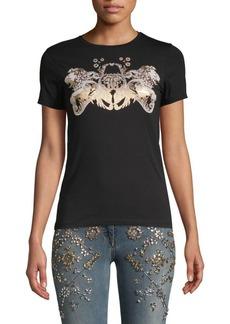 Roberto Cavalli Nero Lion Sculpture Graphic T-Shirt