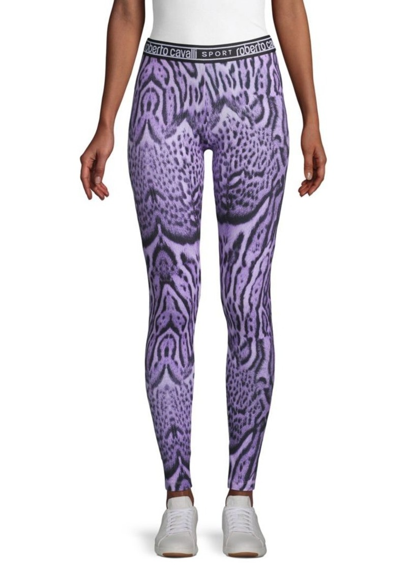 Roberto Cavalli Ocelot-Print Stretch-Cotton Leggings