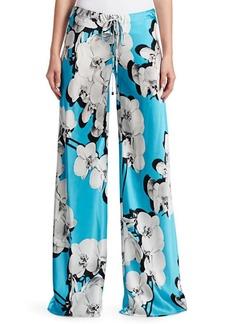 Roberto Cavalli Orchid-Print Silk Wide-Leg Pants