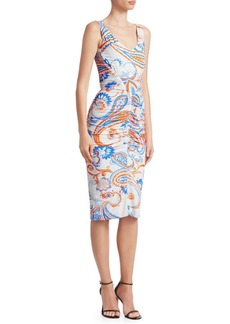 Roberto Cavalli Paisley Ruched Bodycon Dress