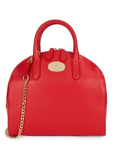 Roberto Cavalli Pebbled Leather Dome Satchel