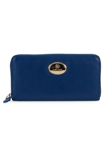 Roberto Cavalli Pebbled Leather Zip-Around Wallet