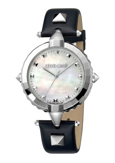 Roberto Cavalli Pointed Leather Watch  Pearl White/Black