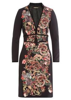 Roberto Cavalli Printed Dress with Velvet