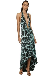 Roberto Cavalli Printed Jersey Dress W/ Leopard Detail