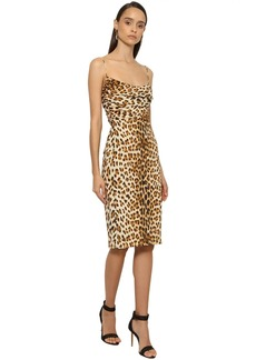 Roberto Cavalli Printed Stretch Crepe Pencil Dress