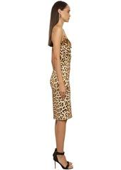 Roberto Cavalli Printed Stretch Crepe Pencil Dress