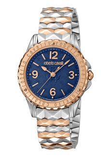 Roberto Cavalli Pyramid-Bracelet Watch w/ Logo Dial  Blue/Two-Tone