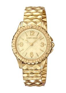 Roberto Cavalli Pyramid-Bracelet Watch w/ Logo Dial  Gold
