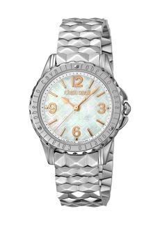 Roberto Cavalli Pyramid-Bracelet Watch w/ Logo Dial  Silver