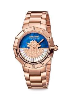 Roberto Cavalli RC-11 Rose Goldtone Stainless Steel Mother-Of-Pearl Bracelet Watch