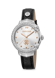 Roberto Cavalli RC-87 Stainless Steel & Leather-Strap Watch