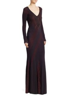 Roberto Cavalli Ribbed Knit V-Neck Gown