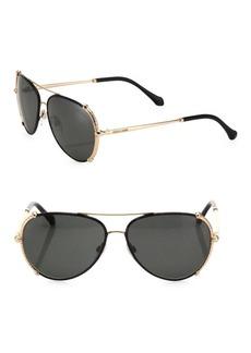 Roberto Cavalli 58MM Leather Aviator Sunglasses