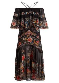Roberto Cavalli Ancient Garden-print halterneck silk dress