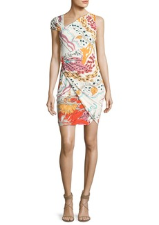Roberto Cavalli Asymmetric-Neck Printed Cocktail Dress