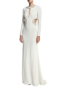 Roberto Cavalli Beaded Keyhole Column Gown