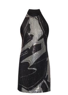 Roberto Cavalli Bi-colour sequin-embellished halterneck dress