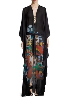 Roberto Cavalli Butterfly-Print Chiffon Caftan Evening Gown w/ Ring Detail