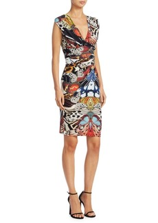 Roberto Cavalli Butterfly Printed V-Neck Dress