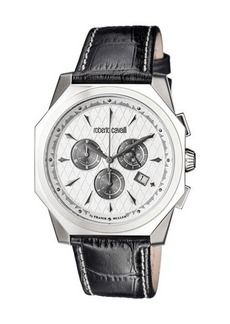 Roberto Cavalli by Franck Muller 45mm Men's Octagonal Chronograph Watch w/ Leather Strap