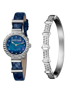 Roberto Cavalli By Franck Muller Women's Diamond Swiss Quartz Blue Leather Strap Watch & Bracelet Gift Set, 26mm