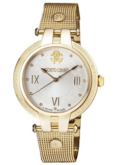 Roberto Cavalli By Franck Muller Women's Diamond Swiss Quartz Gold-Tone Stainless Steel Bracelet Watch, 40mm