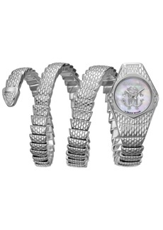 Roberto Cavalli By Franck Muller Women's Diamond Swiss Quartz Silver Stainless Steel Snake Wrap Bracelet, 23mm