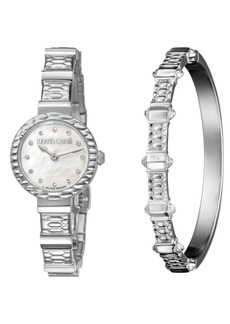 Roberto Cavalli By Franck Muller Women's Diamond Swiss Quartz Stainless Steel Watch & Bracelet Gift Set, 26mm