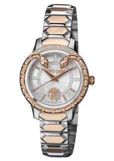 Roberto Cavalli By Franck Muller Women's Diamond Swiss Quartz Two-Tone Rose Gold Stainless Steel Bracelet Watch, 34mm