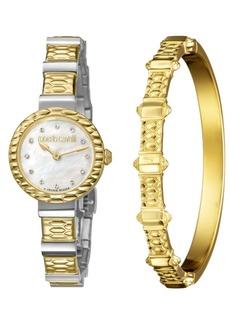 Roberto Cavalli By Franck Muller Women's Diamond Swiss Quartz Two-Tone Stainless Steel Watch & Bracelet Gift Set, 26mm