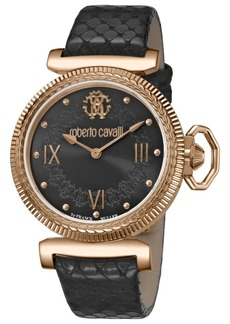 Roberto Cavalli By Franck Muller Women's Swiss Quartz Black Calfskin Leather Strap Black Dial Watch, 38mm