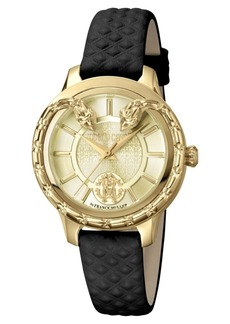 Roberto Cavalli By Franck Muller Women's Swiss Quartz Black Calfskin Leather Strap Gold Dial Watch, 34mm