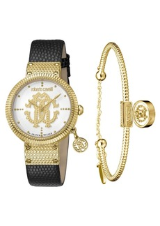 Roberto Cavalli By Franck Muller Women's Swiss Quartz Black Calfskin Leather Strap Watch & Bracelet Gift Set, 34mm