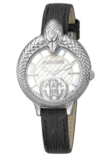 Roberto Cavalli By Franck Muller Women's Swiss Quartz Black Calfskin Leather Strap Watch, 34mm