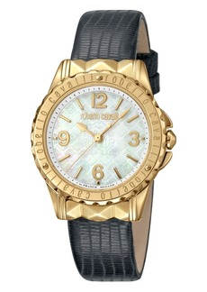 Roberto Cavalli By Franck Muller Women's Swiss Quartz Black Leather Strap Watch, 34mm