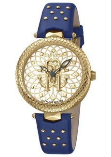Roberto Cavalli By Franck Muller Women's Swiss Quartz Blue Calfskin Leather Strap Gold Dial Watch, 34mm
